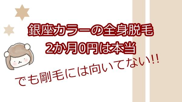 銀座カラーの全身脱毛2か月0円は本当。でも剛毛女にはおすすめできない理由